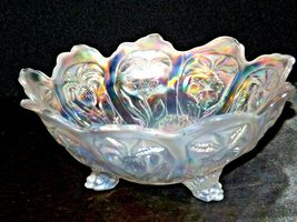 White Imperial Carnival Glass Bowl AA19-1530 Vintage image 9
