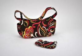 Vera Bradley Shoulder Bag Brown Floral w/ Matching Card Holder Wallet Ma... - £18.53 GBP