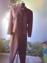 Valerie Stevens 3/4 Sleeve Brown  Lined Pure Silk Pleated Pant Suit Size 14 - $51.47