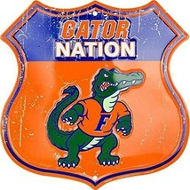 The Florida Gator Nation Shield Embossed Aluminum Sign Bar / Garage Swam... - $16.78