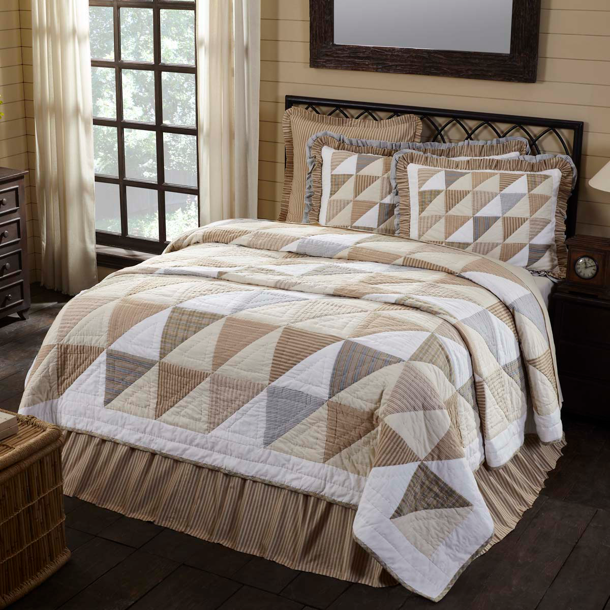 4-pc Joanna Twin Quilt Set - Quilted Sham, Button Pillow, Bed Skirt - Vhc Brands