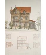 ARCHITECTURE Color Print -VICTORIAN Brick House Paris on Rue Donizetti - $49.50