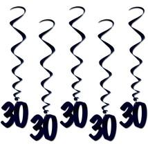 Number 30 Whirls (5pc Pkg) Black Birthday Or Anniversary Decoration - $7.91