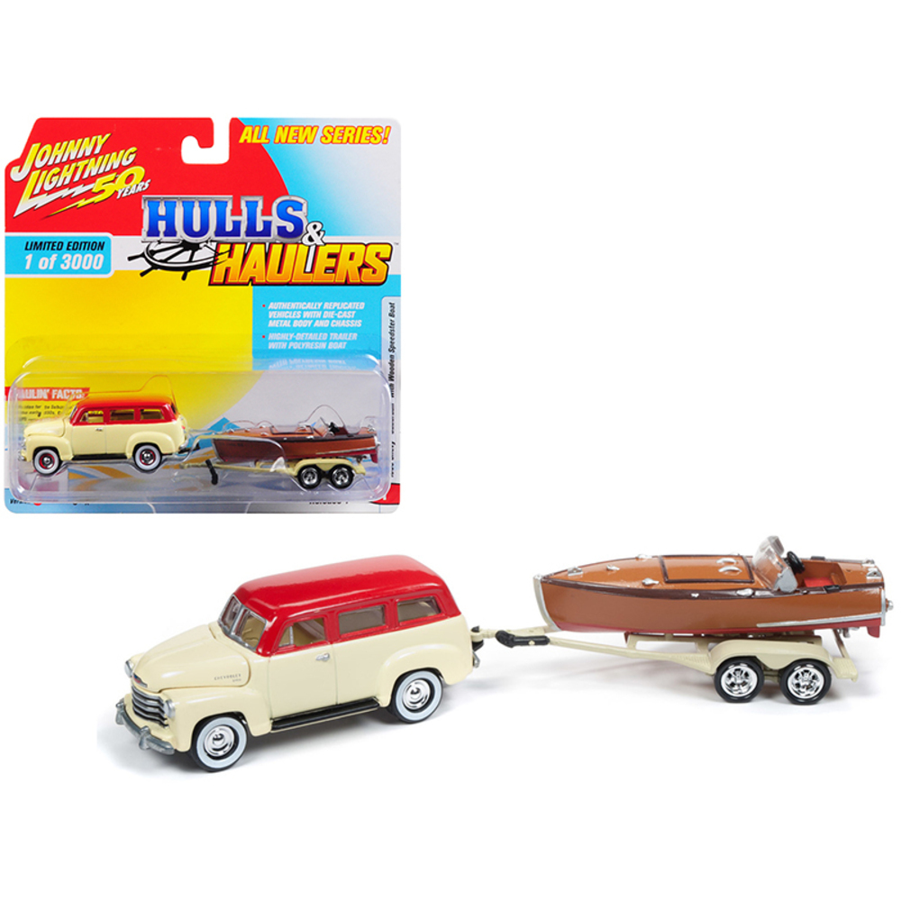 1950 Chevrolet Suburban Ivory Cream and Red Top with Vintage Wooden Speedster Bo