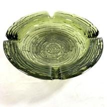 "Soreno Avocado Green Ashtray Glass 6.25"" Vtg Mid Century Anchor Hocking - $9.89"