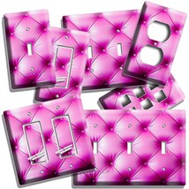 PINK UPHOLSTERY LEATHER LOOK LIGHTSWITCH OUTLET WALL PLATE COVER ROOM HO... - $9.89+