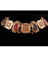 Antique Bookchain bracelet / Victorian bracelet / Bloodstone cameo / Edwardian j - $175.00
