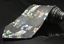 Looney Tunes Mens Necktie Tie Bugs Bunny Stamp Collection All Characters Black - $31.34