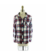 XS - Rails Womens Soft Red Navy White Plaid Button Up Long Sleeve Shirt ... - $34.00