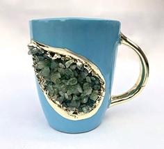 Blue and Gold Ceramic Coffee/Tea Mug with Light Green Semi-precious Agat... - $42.12
