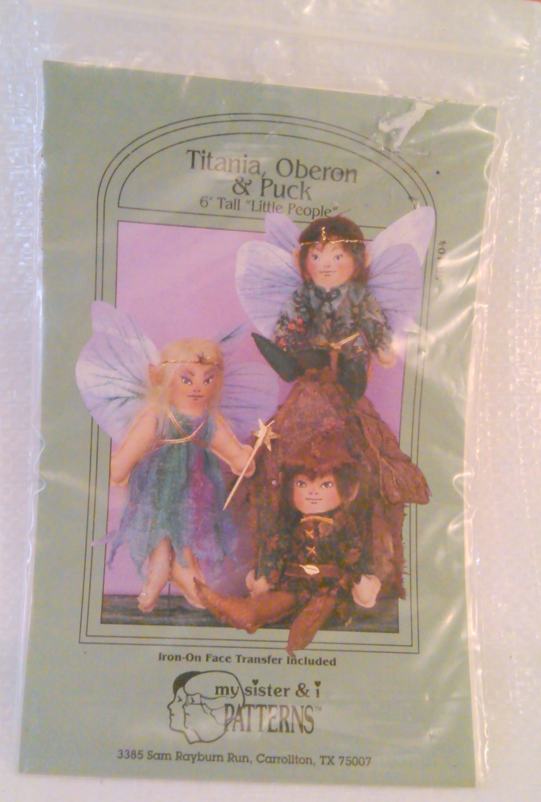 "Doll Pattern by My Sister & i 1993 #SR 104 Titania, Oberon and Puck 6"" tall ""Lit"