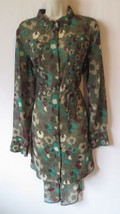 L'Amour Nanette Lepore XL sheer dress green brown burgundy tie waist - $49.46 CAD