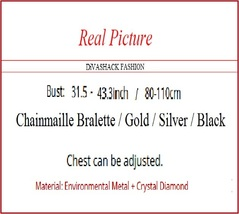Dazzeling Adustable Diamondette Choker Chainmaille Bralette Gold Silver or Black image 3