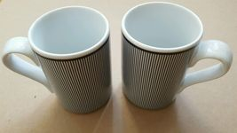 DANSK Bistro Collection Ringsted Blue White stripes Set of 2 mugs cups Pinstripe - $8.86
