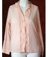 NWT CHICO's peach striped long sleeve button blouse 2 (TF-03I8G) - $17.80