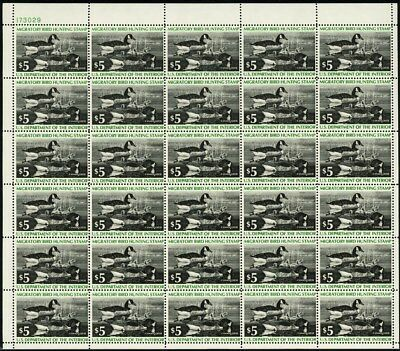 RW43, Mint VF Sheet of 30 $5 Duck Stamps CV $370.00 - Stuart Katz
