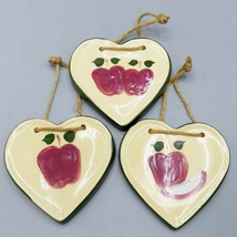 Alpine Pottery 3 Apple Heart Basket Tie On Ornaments Roseville OH USA Fa... - $20.46