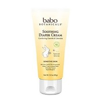 Babo Botanicals Soothing Diaper Cream, 3 Ounce - Natural Zinc, Sensitive Skin, B