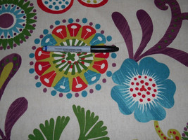 RETRO purple lime emerald red floral on white cotton upholstery fabric by the ya - $11.49