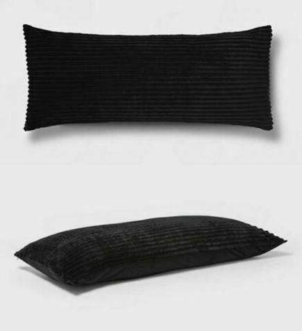 """2pk ROOM ESSENTIALS Solid Ribbed Body Pillow Cover 
