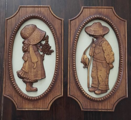 Primary image for Vintage Robby & Holly Hobbie Wall Plaques 15 X 8 American Greetings 1976 1972