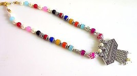 Indian Bollywood Pearls Necklace Oxidized Pendant Women's Fashion Jewelry image 2