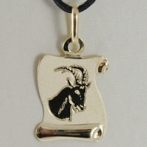 18K YELLOW GOLD ZODIAC SIGN MEDAL CAPRICORN PARCHMENT ENGRAVABLE MADE IN ITALY image 1