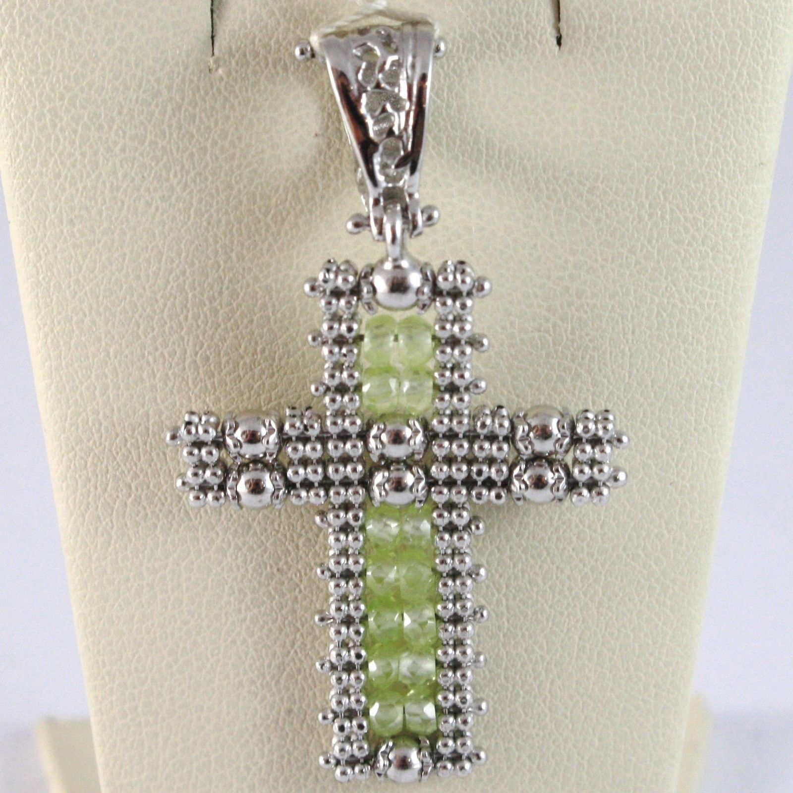 925 STERLING SILVER CROSS PENDANT WITH PERIDOT, MULTI WIRE AND BALLS, ITALY MADE