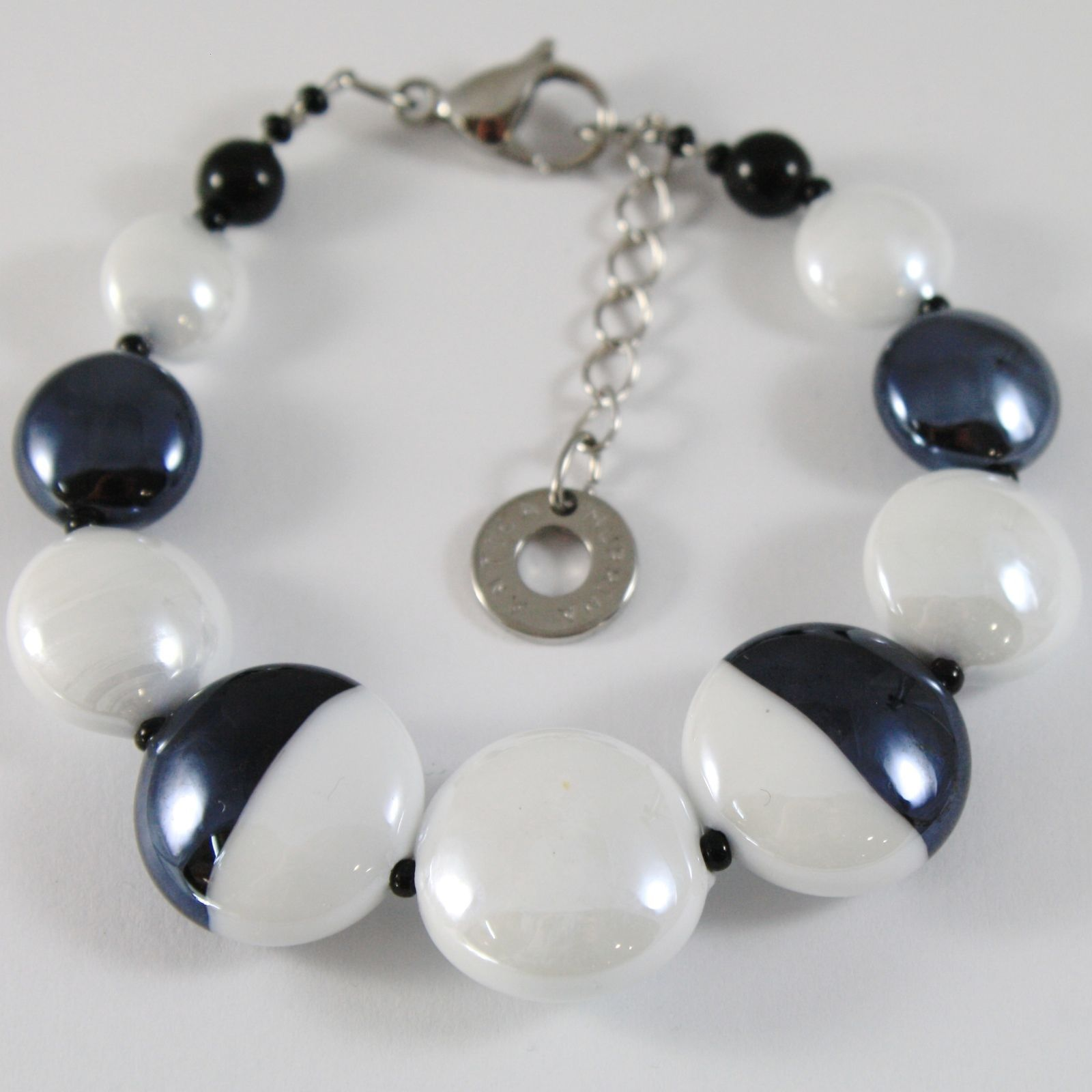BRACELET ANTICA MURRINA VENEZIA WITH MURANO GLASS BLACK AND WHITE BR759A15