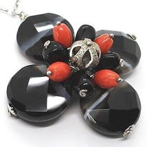 925 Silver Necklace, Agate Faceted Disc, Onyx, Coral, Flower Pendant image 3