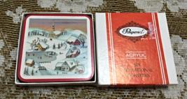 "Box of Six Vintage PIMPERNEL Acrylic Coasters "" White Christmas"" Cork Back  - $9.50"
