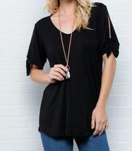 Cold Shoulder Top, Knotted Short Sleeves V Neck, Plus Size Tunics, Black image 6