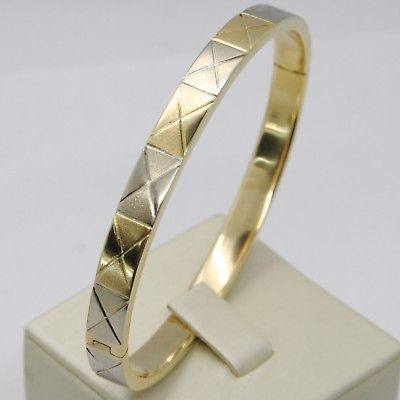 18K YELLOW WHITE GOLD BANGLE RIGID BRACELET, SQUARE SMOOTH & SATIN MADE IN ITALY