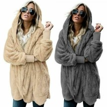Faux Fur Plus Size Woman Casual Winter Soft Plush Hooded Fleece Warm Flu... - $24.21