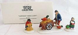 Dept 56 Heritage Village Accessories Harvest Seed Cart Set 3 Figures 564... - $24.75
