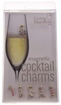 Going Stemless Christmas Holiday Magnetic Cocktail Charms Set 6 Candy Ca... - $25.49