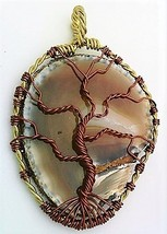 Tree Of Life Agate Brass Wire Wrap Pendant 98 - $10.24