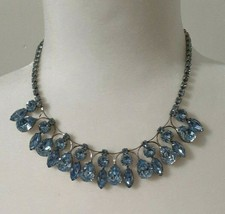 Vintage Weiss Light Blue Tear Drop Round Rhinestone Choker Necklace Signed - $95.00