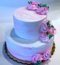 Fake Wedding Cake Two Tier Pink & White Fake Cake Flowers Baby Decoration  - $59.39