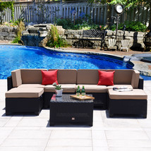 7PC Patio Outdoor Rattan Wicker Furniture Garden Sectional Sofa Set Couc... - $529.99