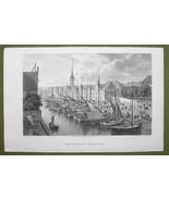 DENMARK Copenhagen Borsen Exchange - 1820s Copper Engraving Cpt BATTY - $19.80