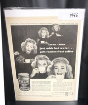 Life Magazine Ad NESCAFE Roaster-Fresh Coffee with Carole Landis 1946 Ad - $8.90