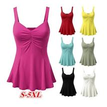 Dressy Ruched Ruffle Pleat Tank Top - $12.62