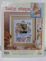 """Leisure Arts """"BABY STEPS"""" Birth  Announcement Bear Counted Cross Stitch Kit - $14.85"""