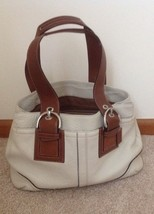 Coach Women's Large Bone And Brown pebbled Leather Shoulder Bag - $64.35
