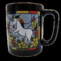 Otagiri White Unicorn Coffee Mug Rainbow Mane Stained Glass Look Black C... - $19.24