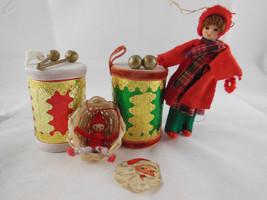 "Vintage Cardboard Gold Foil Velvet Drum + Felt wire 4.5"" doll Christmas Ornament - $15.83"