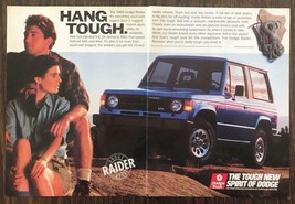 1989 Dodge Raider SUV Print Ad Hang Tough Young Couple Hikers Rope Outdo... - $11.89