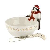 Spode Christmas Tree Penguin Dip Bowl and Spreader - $60.00
