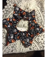 Dog Scrunchie Size M/L Black With Orange Bats White Skull And Crossbones - $5.18